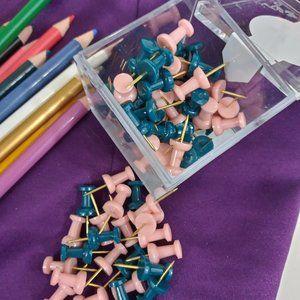🌈 4/$20 Glam Push Pins Pink and Green